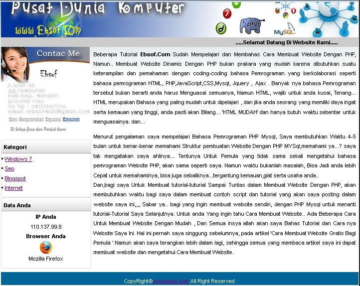 free sourc code website Dinamis PHP MYSQL
