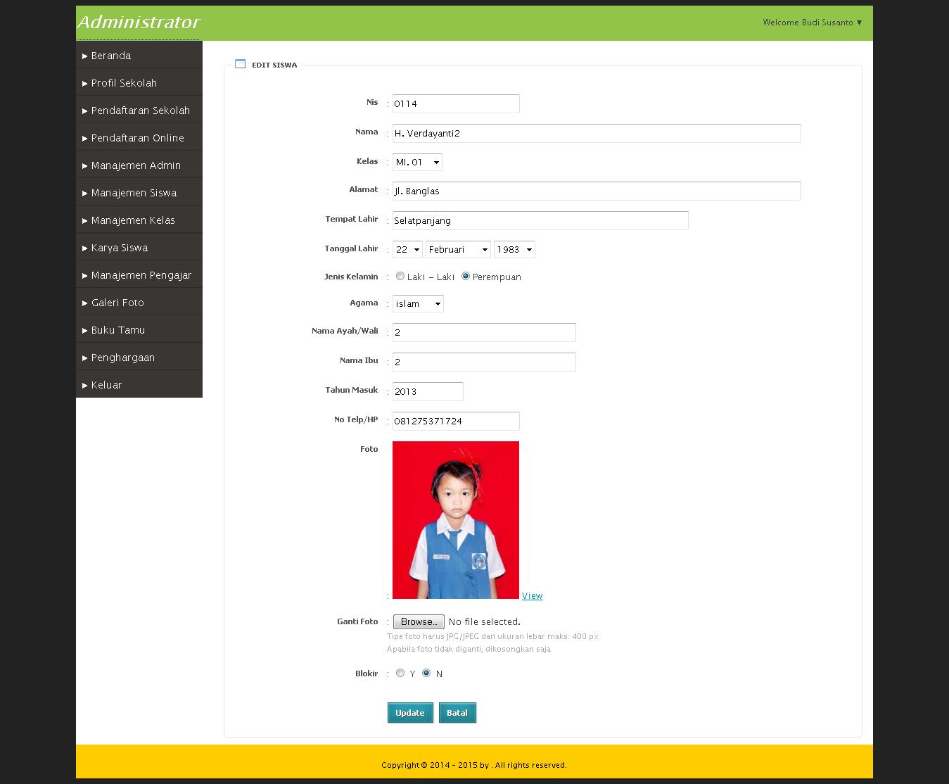Website Sekolah dan Pendaftaran Siswa Baru Online PHP MYSQL